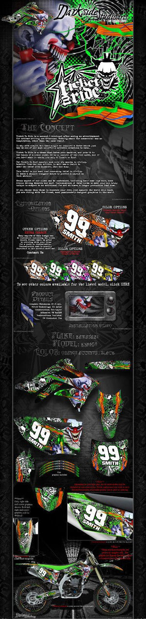 "KAWASAKI 2006-2017 KXF450 ""TICKET TO RIDE"" GRAPHICS WRAP DECAL KIT 2016 2014 - Darkside Studio Arts LLC."