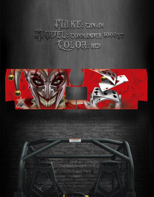 "CAN-AM COMMANDER 1000 XT TAILGATE GRAPHICS ""THE JESTERS GRIN "" RED MODEL - Darkside Studio Arts LLC."