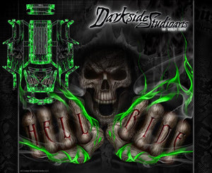 "TRAXXAS SUMMIT GRAPHICS WRAP DECALS ""HELL RIDE"" FOR OEM BODY PARTS GREEN FLAME - Darkside Studio Arts LLC."