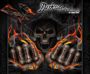 """HELL RIDE"" GRAPHICS WRAP FITS OEM PARTS KTM 1998-2007 EXC XCW 250 300 450 525 - Darkside Studio Arts LLC."