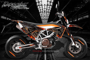 HUSQVARNA 701 SUPERMOTO / ENDURO GRAPHICS WRAP 'HELL RIDE' DECAL KIT - Darkside Studio Arts LLC.