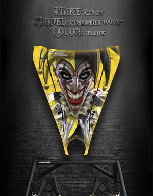 "CAN-AM COMMANDER 1000XT HOOD GRAPHICS ""THE JESTERS GRIN"" YELLOW - Darkside Studio Arts LLC."