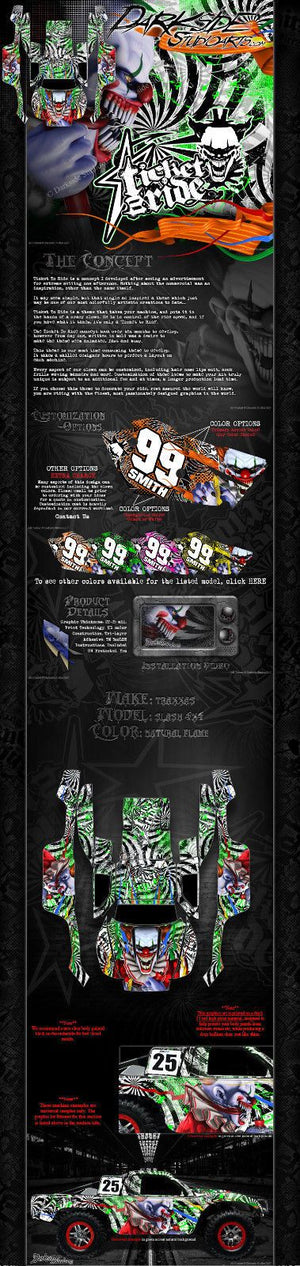"TRAXXAS SLASH 4X4 GRAPHICS WRAP DECALS ""TICKET TO RIDE"" FITS OEM BODY PARTS - Darkside Studio Arts LLC."