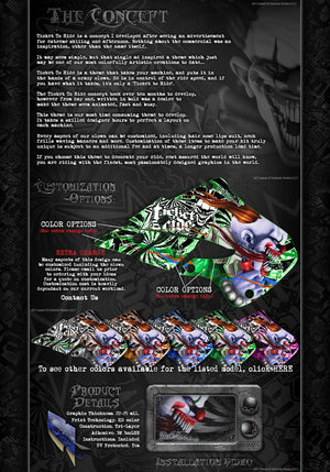 "AXIAL SCX10 DEADBOLT GRAPHICS WRAP DECALS ""TICKET TO RIDE"" FOR OEM BODY PARTS - Darkside Studio Arts LLC."