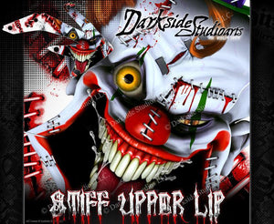 "HONDA 2004-2014 CRF450X CRF250X GRAPHICS WRAP ""STIFF UPPER LIP"" DECAL KIT CLOWN - Darkside Studio Arts LLC."