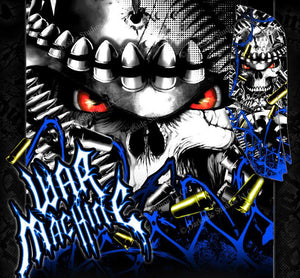"YAMAHA RAPTOR 660 GRAPHICS WRAP DECAL KIT ""WAR MACHINE"" FITS OEM PARTS BLUE - Darkside Studio Arts LLC."