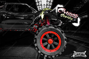 TRAXXAS X-MAXX CHASSIS / SHOCK TOWER WAR MACHINE HOP UP GRAPHICS DECALS RED - Darkside Studio Arts LLC.