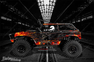 "AXIAL SCX10 DEADBOLT GRAPHICS WRAP DECALS ""HELL RIDE"" FITS OEM LEXAN BODY PARTS - Darkside Studio Arts LLC."