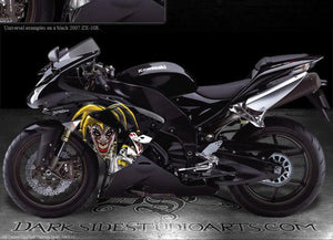 "KAWASAKI ZX-10R 2006-2007 ""THE JESTERS GRIN"" GRAPHICS FOR BLACK FAIRING PARTS - Darkside Studio Arts LLC."