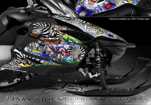 "YAMAHA APEX 2006-2010 SNOWMOBILE GRAPHICS WRAP ""TICKET TO RIDE"" DECAL KIT 07 08 - Darkside Studio Arts LLC."