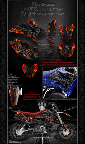 "YAMAHA 2000-2020 DT50 TTR50 TTR90 ""HELL RIDE"" GRAPHICS WRAP FITS OEM PLASTICS - Darkside Studio Arts LLC."