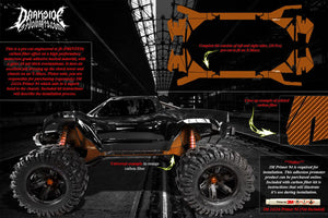 TRAXXAS X-MAXX CHASSIS / SHOCK TOWER PRINTED CARBON FIBER GRAPHICS DECALS ORANGE - Darkside Studio Arts LLC.