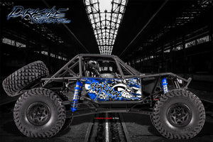 "AXIAL RR10 BOMBER GRAPHICS WRAP DECALS ""GEAR HEAD"" KIT FOR OEM BODY PARTS BLUE - Darkside Studio Arts LLC."