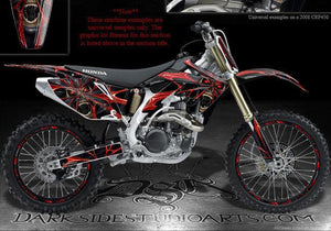 "HONDA 2008-2012 10 11 CRF230F CRF150F GRAPHICS ""THE DEMONS WITHIN"" FOR RED PARTS - Darkside Studio Arts LLC."