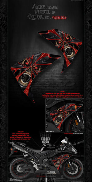 "YAMAHA 2002-2014 YZF-R1 ""THE DEMONS WITHIN"" GRAPHICS WRAP FOR SHROUD COWLING - Darkside Studio Arts LLC."