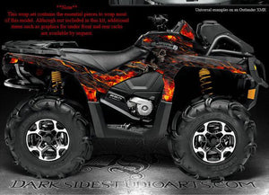 "CAN-AM OUTLANDER MAX 2012-2015 ""HELL RIDE"" FOR OEM PARTS DECALS WRAP KIT GRAPHIC - Darkside Studio Arts LLC."