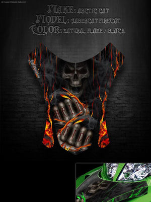 "ARCTIC CAT ""HELL RIDE"" HOOD PANEL WRAP GRAPHICS DECALS FIRECAT F5 F6 F7 2003-06 - Darkside Studio Arts LLC."