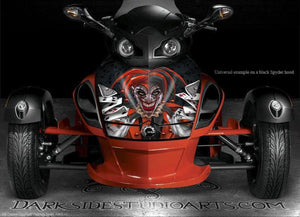 "CAN-AM SPYDER GRAPHICS DECAL SET WHITE HOOD PARTS ""THE JESTERS GRIN"" BODY WRAP - Darkside Studio Arts LLC."