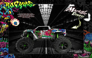 "TRAXXAS X-MAXX GRAPHICS WRAP DECALS ""RUCKUS"" FITS PROLINE FORD RAPTOR, CHEVY SILVERADO, BRUTE BASH & STOCK BODY - Darkside Studio Arts LLC."
