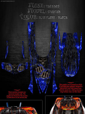 "TRAXXAS SPARTAN BOAT WRAP GRAPHICS DECAL KIT ""HELL RIDE"" FITS OEM HULL & PARTS - Darkside Studio Arts LLC."