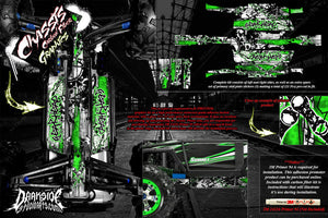 TRAXXAS E-REVO SUMMIT CHASSIS 'GEAR HEAD' HOP UP GRAPHICS FITS OEM PARTS GREEN - Darkside Studio Arts LLC.