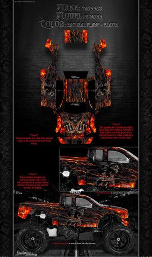 "TRAXXAS E-MAXX GRAPHICS WRAP DECALS ""HELL RIDE"" FITS TRA3911 OEM LEXAN BODY PARTS - Darkside Studio Arts LLC."