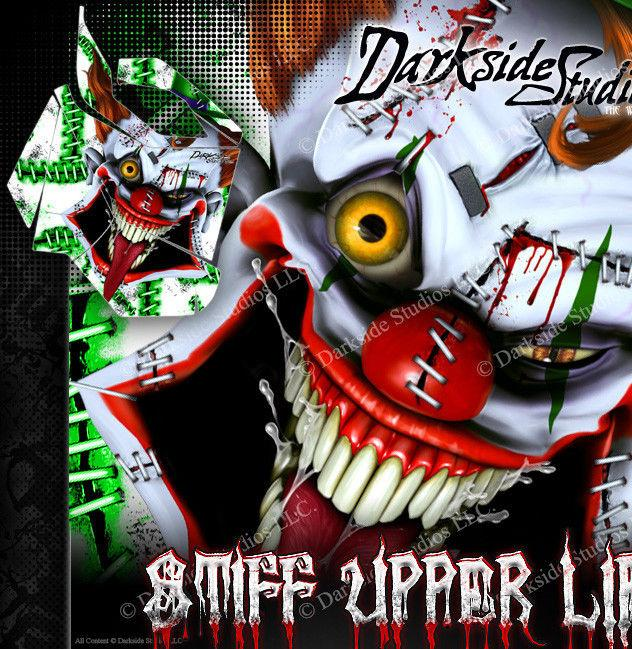"SKI-DOO 2013-2016 XS REV SUMMIT ""STIFF UPPER LIP"" SIDE PANEL WRAP GREEN & WHITE - Darkside Studio Arts LLC."