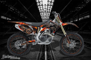 "HONDA 2004-2014 CRF450X CRF250X GRAPHICS WRAP ""HELL RIDE"" FOR OEM PARTS FENDERS - Darkside Studio Arts LLC."