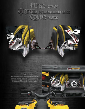 "CAN-AM OUTLANDER & MAX TRUNK GRAPHICS DECAL STICKER KIT ""THE JESTERS GRIN"" BLACK - Darkside Studio Arts LLC."