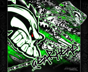 "KAWASAKI 1994-2016 KX80 KX85 KX100 ""GEAR HEAD"" GRAPHICS WRAP SKULLS DECALS - Darkside Studio Arts LLC."