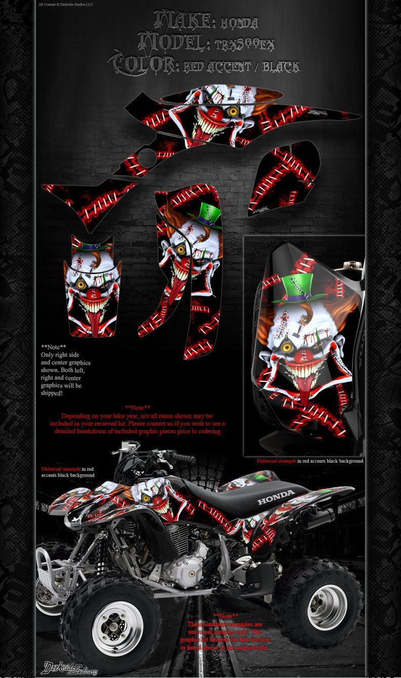 """HONDA 1993-2006 TRX300EX GRAPHICS DECALS KIT /""""THE DEMONS WITHIN/"""" FOR OEM PARTS"""
