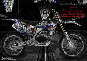 "YAMAHA 2003-2004 WR250 WR450 GRAPHICS WRAP ""TICKET TO RIDE"" FITS OEM PLASTICS - Darkside Studio Arts LLC."