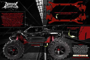 TRAXXAS X-MAXX CHASSIS / SHOCK TOWER PRINTED CARBON FIBER GRAPHICS DECALS RED - Darkside Studio Arts LLC.