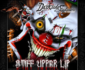 """STIFF UPPER LIP"" CLOWN GRAPHICS WRAP FITS KTM 2012-2018 EXC XCW 250 300 450 525 - Darkside Studio Arts LLC."