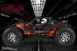 "AXIAL YETI ROCK RACER DECALS WRAP GRAPHICS ""HELL RIDE"" FITS OEM PARTS 1/10 RC - Darkside Studio Arts LLC."