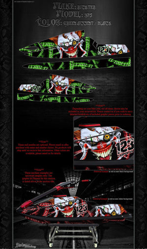 BLOWSION RICKTER XFS JETSKI DECALS WRAP GRAPHICS KIT 'STIFF UPPER LIP' GREEN - Darkside Studio Arts LLC.