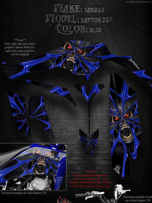 "YAMAHA RAPTOR 350 GRAPHICS WITH BLUE ACCENTS DECALS WRAP KIT ""THE DEMONS WITHIN"" - Darkside Studio Arts LLC."