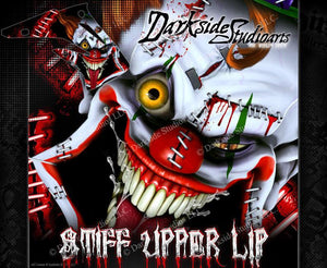 "HONDA 2004-2012 CRF70 CRF80 CRF100 GRAPHICS DECALS ""STIFF UPPER LIP"" WRAP CLOWNS - Darkside Studio Arts LLC."