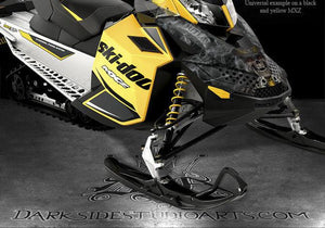 "SKI-DOO XP REV RENEGADE 08-12 ""THE OUTLAW"" YELLOW HOOD GRAPHICS ONLY FREE RIDE - Darkside Studio Arts LLC."