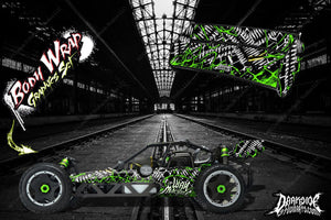 "HPI BAJA 5B SS WRAP GRAPHIC ""WAR MACHINE"" HOP-UP DECAL KIT FOR OEM BODY PARTS - Darkside Studio Arts LLC."
