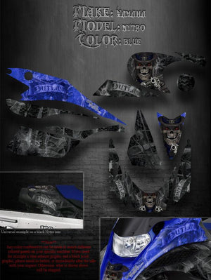 "YAMAHA NYTRO 2008-13 SNOWMOBILE GRAPHICS DECALS WRAP  ""THE OUTLAW"" BLUE & BLACK - Darkside Studio Arts LLC."