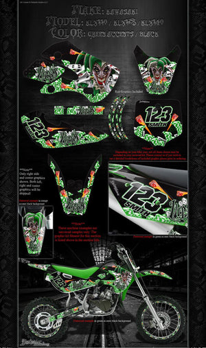 "KAWASAKI 2002-2016 KLX110 KLX125 KLX140 ""LUCKY"" GRAPHICS WRAP DECALS KIT - Darkside Studio Arts LLC."