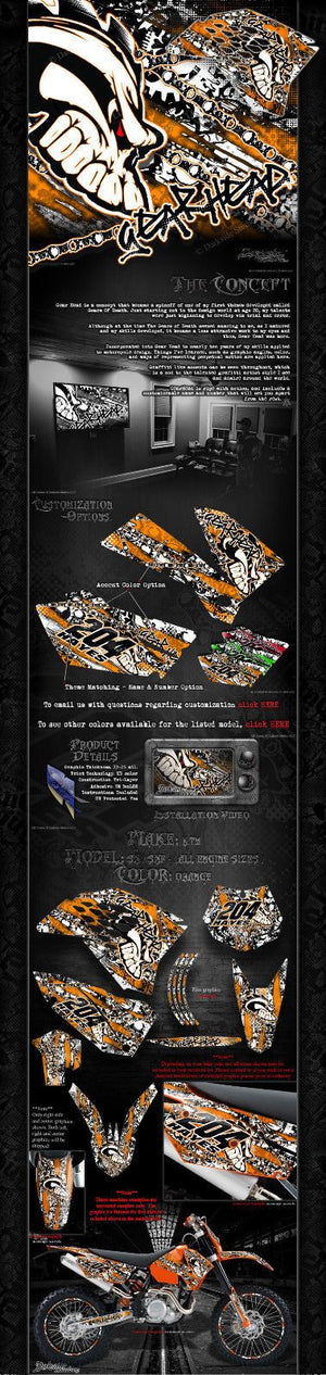 """GEAR HEAD"" GRAPHICS DECALS WRAP SKULL FITS KTM 2007-2010 SX SXF 250 300 450 525 - Darkside Studio Arts LLC."