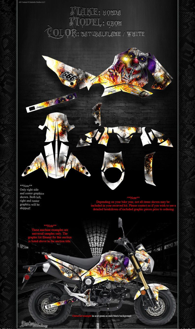 HONDA GROM 2013-2016 GRAPHICS WRAP 'PYRO' DECAL WRAP KIT FITS OEM PARTS