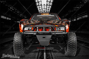 "HPI BAJA 5T GRAPHICS WRAP DECALS ""HELL RIDE"" FITS LEXAN BODY & WING TRUCK PARTS - Darkside Studio Arts LLC."