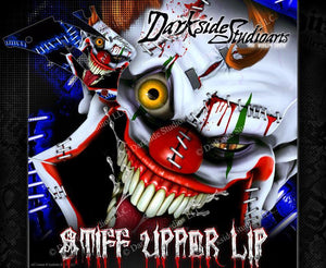 "YAMAHA 1998-2009 YZF250 YZF450 DECAL WRAP ""STIFF UPPER LIP"" CRAZY CLOWN GRAPHICS - Darkside Studio Arts LLC."