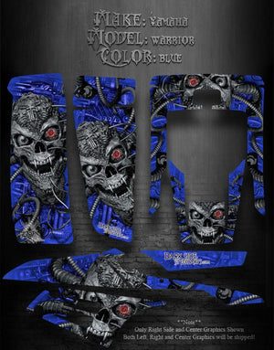 "YAMAHA WARRIOR 1993-CURRENT YFM350 ATV GRAPHICS ""MACHINEHEAD"" BLUE MODEL SKULL - Darkside Studio Arts LLC."