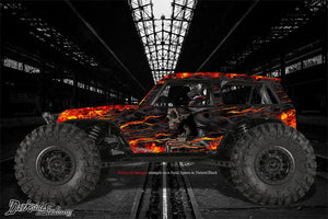 "AXIAL WRAITH GRAPHICS WRAP DECAL KIT ""HELL RIDE"" FITS OEM SPAWN BODY PARTS ONLY - Darkside Studio Arts LLC."