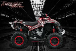 "CAN-AM RENEGADE GRAPHICS ""GEAR HEAD"" TWO TONE CUSTOM COLOR RED / GRAY - Darkside Studio Arts LLC."