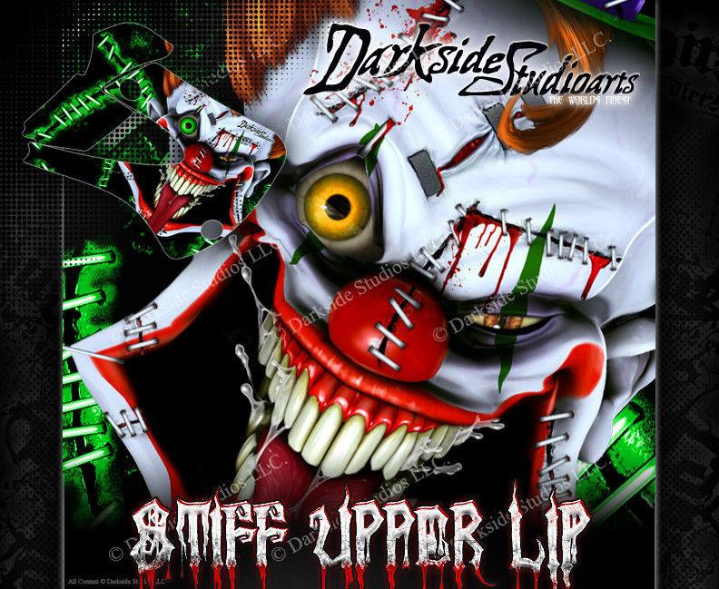 "KAWASAKI 1994-2016 KX80 KX85 KX100 ""STIFF UPPER LIP"" GRAPHICS WRAP CLOWN DECALS - Darkside Studio Arts LLC."